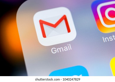 Sankt-Petersburg, Russia, March 7, 2018: Google Gmail application icon on Apple iPhone X smartphone screen close-up. Gmail app icon. Gmail is popular Internet online e-mail service. Social media icon