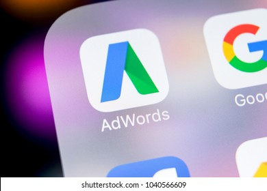 Sankt-Petersburg, Russia, March 7, 2018: Google AdWords express application icon on Apple iPhone X screen close-up. Google Ad Words Express icon. Google Adwords application. Social media network