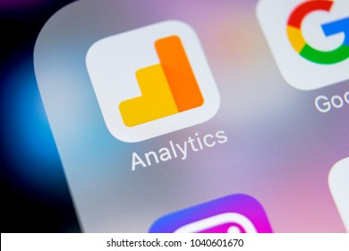 Sankt-Petersburg, Russia, March 7, 2018: Google Analytics application icon on Apple iPhone X screen close-up. Google Analytics icon. Google Analytics application. Social media network