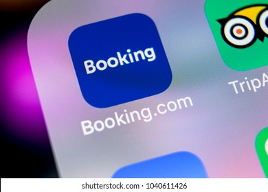 Sankt-Petersburg, Russia, March 7, 2018: Booking.com application icon on Apple iPhone X screen close-up. Booking app icon. Booking.com is  online website for booking hotel rooms. Social media app