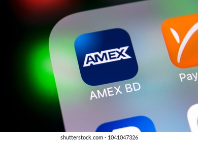 Sankt-Petersburg, Russia, March 8, 2018: Amex application icon on Apple iPhone X smartphone screen close-up. Amex app icon. Amex is an online electronic finance payment system.