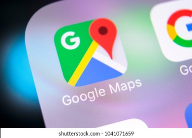 Sankt-Petersburg, Russia, March 8, 2018: Google Maps application icon on Apple iPhone X screen close-up. Google Maps icon. Google maps application. Social media network