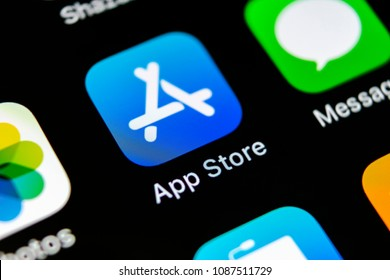 Sankt-Petersburg, Russia, May 10, 2018: Apple store application icon on Apple iPhone X smartphone screen close-up. Mobile application icon of app store. Social network. AppStore