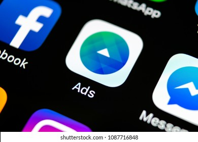 Sankt-Petersburg, Russia, May 10, 2018: Facebook Ads application icon on Apple iPhone X screen close-up. Facebook Business app icon. Facebook Ads mobile application. Social media network