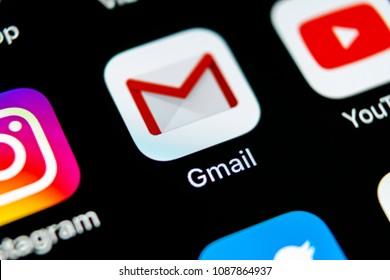 Sankt-Petersburg, Russia, May 10, 2018: Google Gmail application icon on Apple iPhone X smartphone screen close-up. Gmail app icon. Gmail is  popular Internet online e-mail. Social media icon