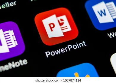 Sankt-Petersburg, Russia, May 10, 2018: Microsoft office Powerpoint application icon on Apple iPhone X screen close-up. PowerPoint app icon. Microsoft Power Point application. Social media network