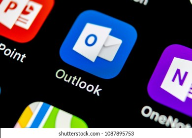 Sankt-Petersburg, Russia, May 10 2018: Microsoft Outlook office application icon on Apple iPhone X screen close-up. Microsoft outlook app icon. Microsoft OutLook application. Social media network