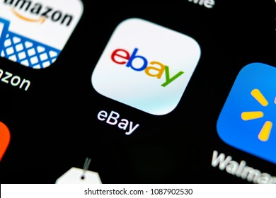 Sankt-Petersburg, Russia, May 10, 2018: eBay application icon on Apple iPhone X screen close-up. eBay app icon. eBay.com is largest online auction and shopping websites.