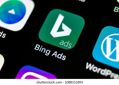 Sankt-Petersburg, Russia, May 10, 2018: Bing application icon on Apple iPhone X screen close-up. Bing ads app icon. Bing ads is online advertising application. Social media network.
