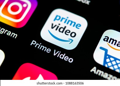 Sankt-Petersburg, Russia, May 10, 2018: Amazon Prime Video application icon on Apple iPhone X screen close-up. Amazon PrimeVideo app icon. Amazon Prime application. Social media network
