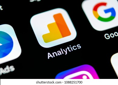 Sankt-Petersburg, Russia, May 10, 2018: Google Analytics application icon on Apple iPhone X screen close-up. Google Analytics icon. Google Analytics application. Social media network
