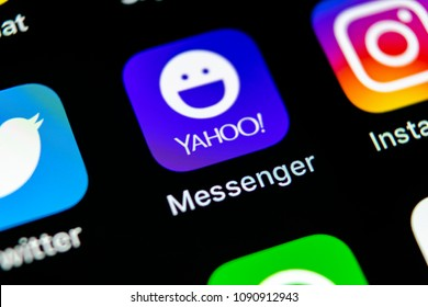 Sankt-Petersburg, Russia, May 10, 2018: Yahoo messenger application icon on Apple iPhone X smartphone screen close-up. Yahoo messenger app icon. Social media icon. Social network