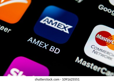 Sankt-Petersburg, Russia, May 10, 2018: Amex application icon on Apple iPhone X smartphone screen close-up. Amex app icon. American express is an online electronic finance payment system.