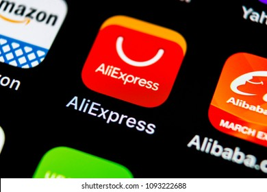 Sankt-Petersburg, Russia, May 10, 2018: Aliexpress application icon on Apple iPhone X smartphone screen. Aliexpress app icon. Aliexpress.com is popular e-commerce application. Social media icon