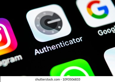 Sankt-Petersburg, Russia, May 10, 2018: Google authenticator application icon on Apple iPhone X smartphone screen close-up. Google Authenticator app icon. Social network. Social media icon