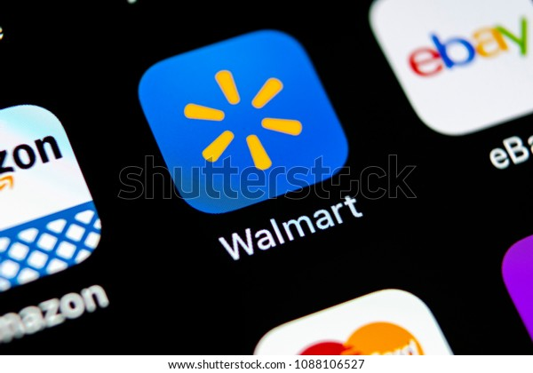 Sankt-Petersburg, Russia, May 10, 2018: Walmart application icon on Apple iPhone X screen close-up. Walmart app icon. Walmart.com is multinational retailing corporation