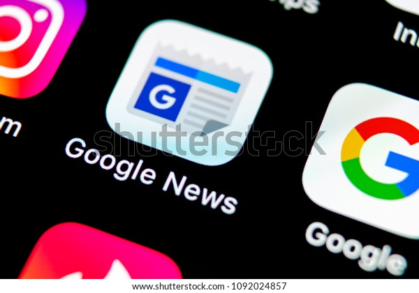 Sankt-Petersburg, Russia, May 10 2018: Google News application icon on Apple iPhone X smartphone screen close-up. Google news app icon. Social network. Social media icon