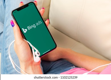 Sankt-Petersburg, Russia, May 30, 2018: Bing application icon on Apple iPhone X screen close-up in woman hands. Bing ads app icon. Bing ads is online advertising application. Social media network.