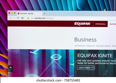 Sankt-Petersburg, Russia, November 20, 2017: Equifax home page on the Apple iMac monitor screen. Equifax Inc. is a consumer credit reporting agency.