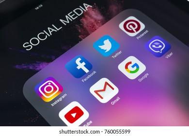 Sankt-Petersburg Russia November 21, 2017: Apple iPad Pro with icons of social media facebook, instagram, twitter, snapchat application on screen. Tablet Starting social media app.