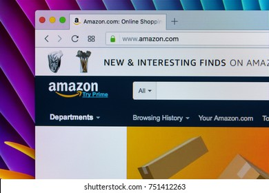 Sankt-Petersburg, Russia, November 9 2017: Home page of online e-commerce marketplace Amazon.com - the largest online seller and trading platform. Open a browser on Apple iMac tab on Amazon.com