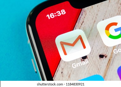 Sankt-Petersburg, Russia, September 19, 2018: Google Gmail application icon on Apple iPhone X smartphone screen close-up. Gmail app icon. Gmail is  popular Internet online e-mail. Social media icon