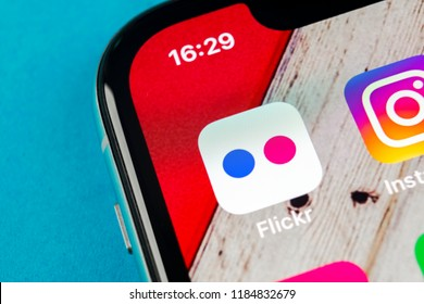 Sankt-Petersburg, Russia, September 19, 2018: Flickr application icon on Apple iPhone X smartphone screen close-up. Flickr app icon. Social media icon. Social network