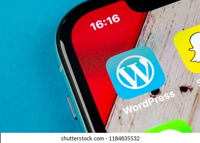 Sankt-Petersburg, Russia, September 19, 2018: Wordpress application icon on Apple iPhone X screen close-up. Wordpress app icon. Wordpress.com application. Social network