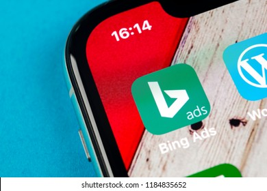 Sankt-Petersburg, Russia, September 19, 2018: Bing application icon on Apple iPhone X screen close-up. Bing ads app icon. Bing ads is online advertising application. Social media network.