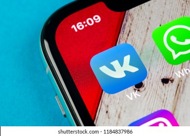Sankt-Petersburg, Russia, September 19, 2018: Vkontakte application icon on Apple iPhone X screen close-up. VK app icon. Vkontakte mobile application. Social media network. Social media icon