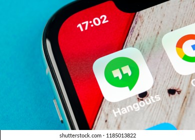 Sankt-Petersburg, Russia, September 19, 2018: Google Hangouts application icon on Apple iPhone X smartphone screen close-up. Google hangouts app icon. Social network. Social media icon
