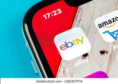 Sankt-Petersburg, Russia, September 19, 2018: eBay application icon on Apple iPhone X screen close-up. eBay app icon. eBay.com is largest online auction and shopping websites.