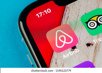 Sankt-Petersburg, Russia, September 19, 2018: Airbnb application icon on Apple iPhone X screen close-up. Airbnb app icon. Airbnb.com is online website for booking rooms. social media network.