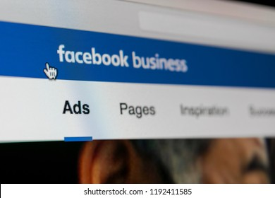 Sankt-Petersburg, Russia, September 26, 2018: Facebook Ads application icon on Apple iMac screen close-up. Facebook Business app icon. Facebook Ads mobile application. Social media network