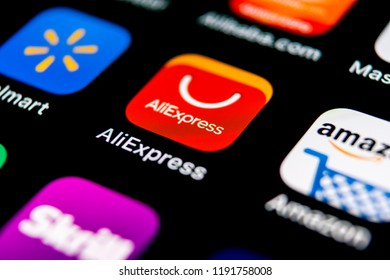Sankt-Petersburg, Russia, September 30, 2018: Aliexpress application icon on Apple iPhone X smartphone screen. Aliexpress app icon. Aliexpress.com is popular e-commerce application. Social media icon