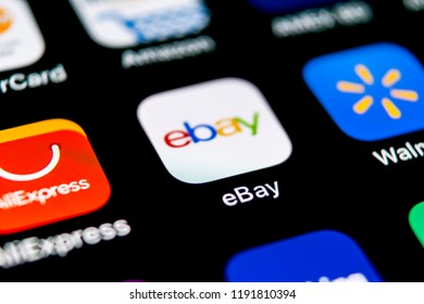 Sankt-Petersburg, Russia, September 30, 2018: eBay application icon on Apple iPhone X screen close-up. eBay app icon. eBay.com is largest online auction and shopping websites.