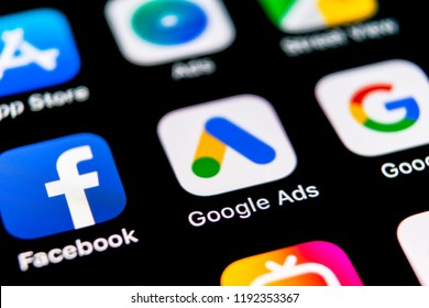 Sankt-Petersburg, Russia, September 30, 2018: Google Ads AdWords application icon on Apple iPhone X screen close-up. Google Ad Words icon. Google ads Adwords application. Social media network