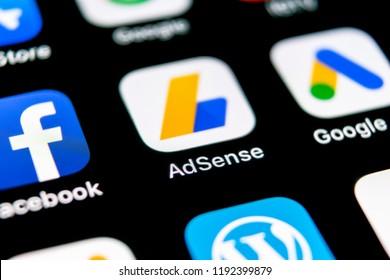 Sankt-Petersburg, Russia, September 30, 2018: Google AdSense application icon on Apple iPhone X screen close-up. Google AdSense app icon. Google AdSense application. Social media network