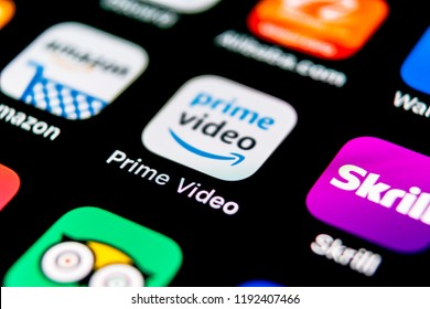 Sankt-Petersburg, Russia, September 30, 2018: Amazon Prime Video application icon on Apple iPhone X screen close-up. Amazon PrimeVideo app icon. Amazon Prime application. Social media network