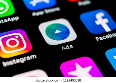 Sankt-Petersburg, Russia, September 30, 2018: Facebook Ads application icon on Apple iPhone X screen close-up. Facebook Business app icon. Facebook Ads mobile application. Social media network