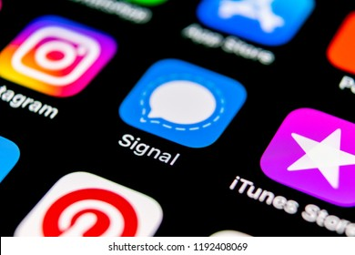 Sankt-Petersburg, Russia, September 30, 2018: Signal messenger application icon on Apple iPhone X smartphone screen close-up. Signal messenger app icon. Social media network.