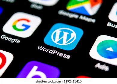 Sankt-Petersburg, Russia, September 30, 2018: Wordpress application icon on Apple iPhone X screen close-up. Wordpress app icon. Wordpress.com application. Social network