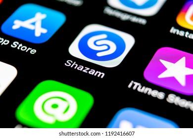 Sankt-Petersburg, Russia, September 30, 2018: Shazam application icon on Apple iPhone X screen close-up. Shazam app icon. Shazam is popular online music application. Social media app
