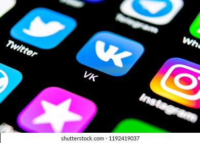 Sankt-Petersburg, Russia, September 30, 2018: Vkontakte application icon on Apple iPhone X screen close-up. VK app icon. Vkontakte mobile application. Social media network. Social media icon