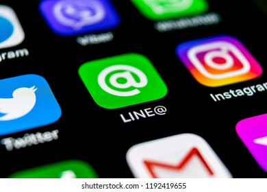 Sankt-Petersburg, Russia, September 30, 2018: Line application icon on Apple iPhone X screen close-up. Line app icon. Line is an online social media network. Social media app