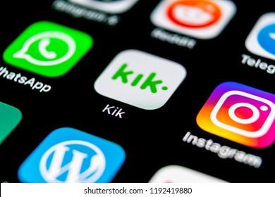 Sankt-Petersburg, Russia, September 30, 2018: Kik messenger application icon on Apple iPhone X screen close-up. KIK messenger app icon. Kik messenger mobile application. Social media network.