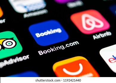 Sankt-Petersburg, Russia, September 30, 2018: Booking.com application icon on Apple iPhone X screen close-up. Booking app icon. Booking.com.  Social media app. Social network