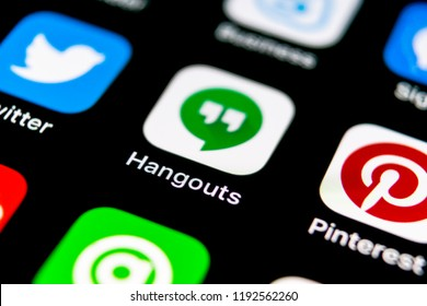Sankt-Petersburg, Russia, September 30, 2018: Google Hangouts application icon on Apple iPhone X smartphone screen close-up. Google hangouts app icon. Social network. Social media icon