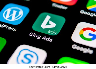 Sankt-Petersburg, Russia, September 30, 2018: Bing application icon on Apple iPhone X screen close-up. Bing ads app icon. Bing ads is online advertising application. Social media network.