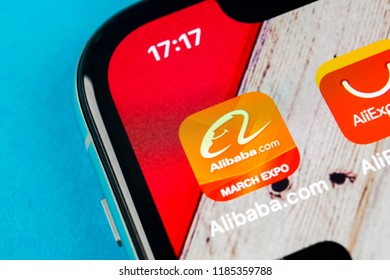 Sankt-Petersburg, September 19, 2018: Alibaba application icon on Apple iPhone X smartphone screen close-up. Alibaba app icon. Alibaba.com is popular e-commerce application. Social media icon